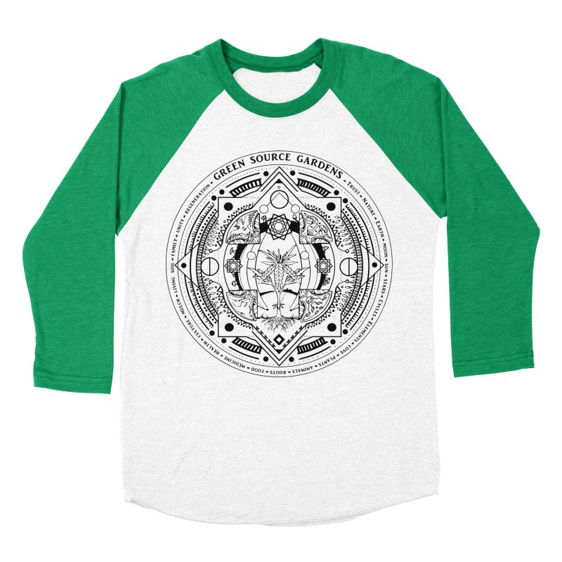Canna Mandala (black ink) Women's Baseball Triblend Longsleeve T-Shirt by Green Source Gardens