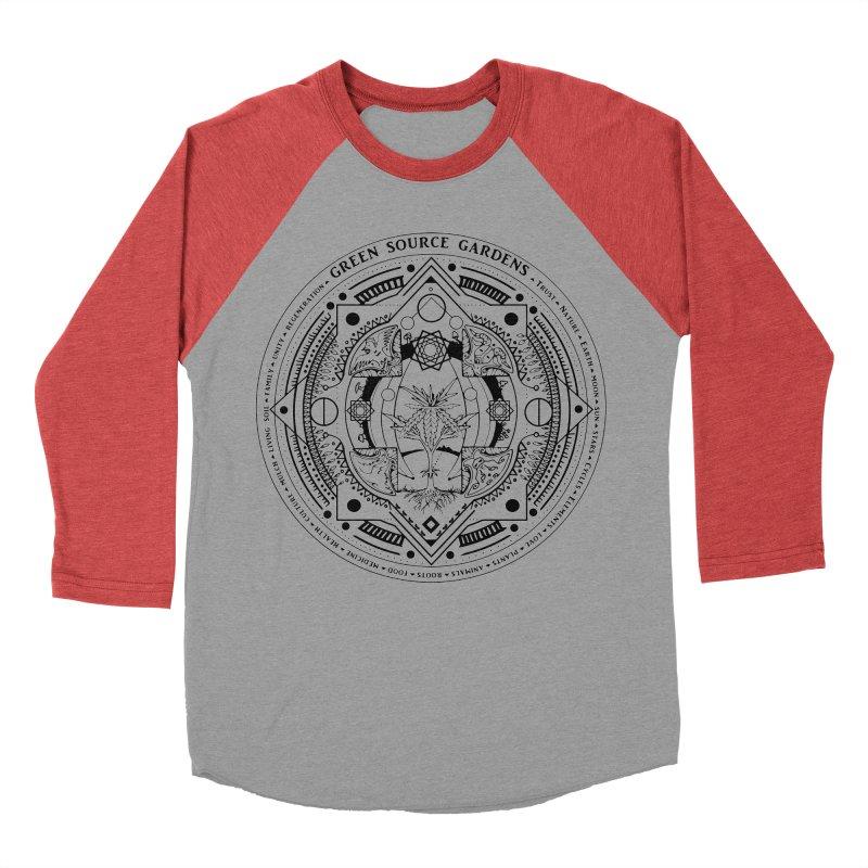 Canna Mandala (black ink) Men's Baseball Triblend Longsleeve T-Shirt by Green Source Gardens