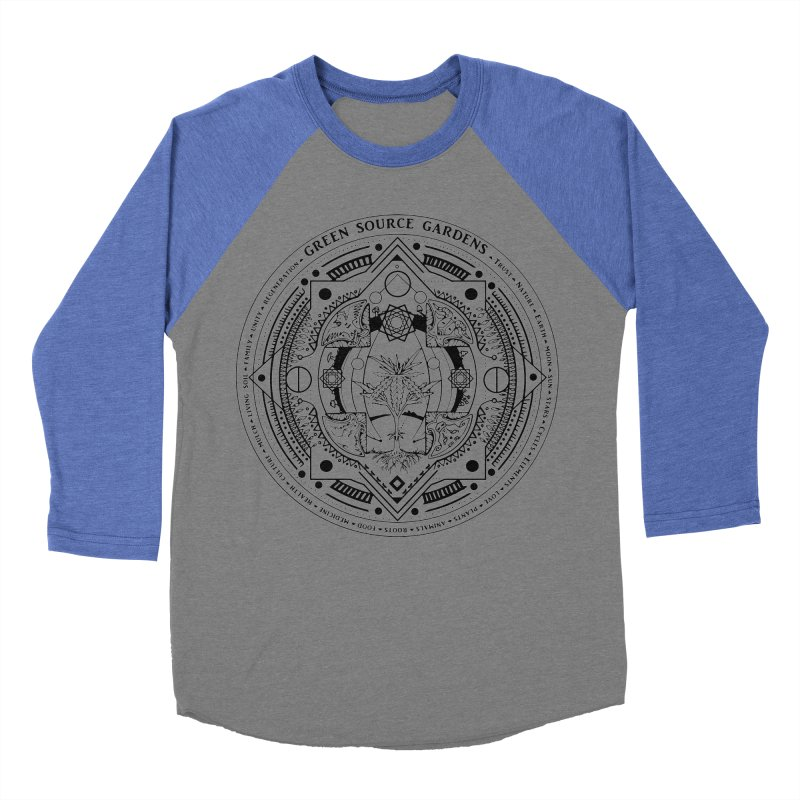 Canna Mandala Men's Baseball Triblend T-Shirt by Green Source Gardens