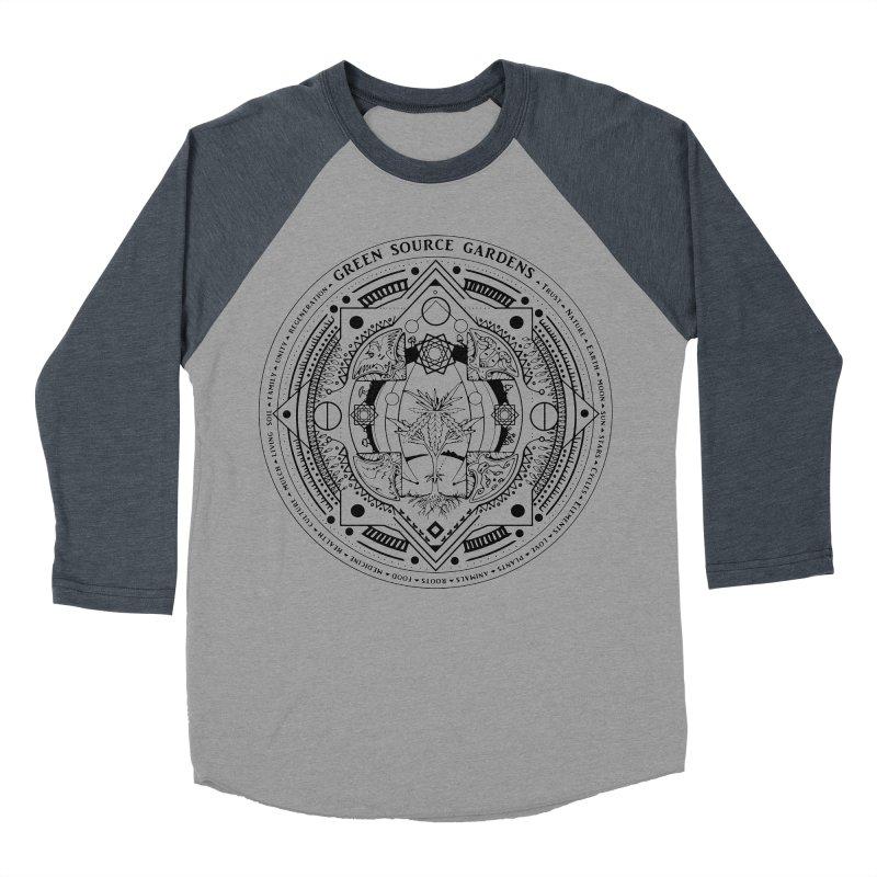 Canna Mandala (black ink) Men's Baseball Triblend T-Shirt by Green Source Gardens