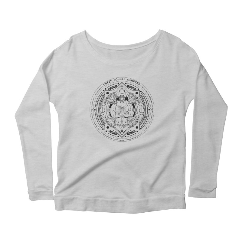 Canna Mandala (black ink) Women's Longsleeve T-Shirt by Green Source Gardens