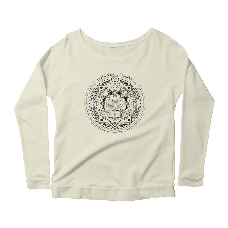 Canna Mandala (black ink) Women's Longsleeve Scoopneck  by Green Source Gardens
