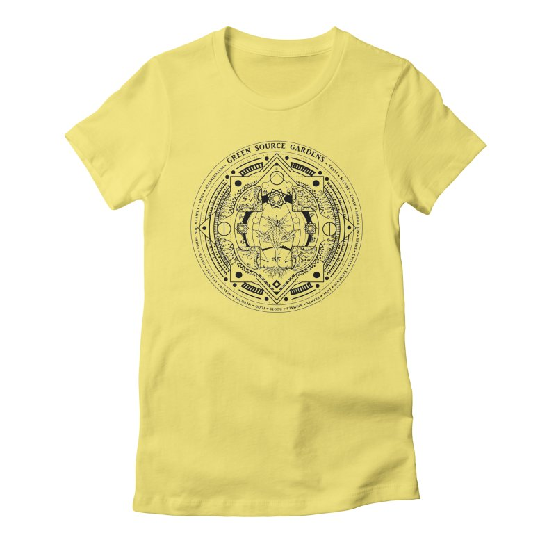 Canna Mandala (black ink) Women's Fitted T-Shirt by Green Source Gardens