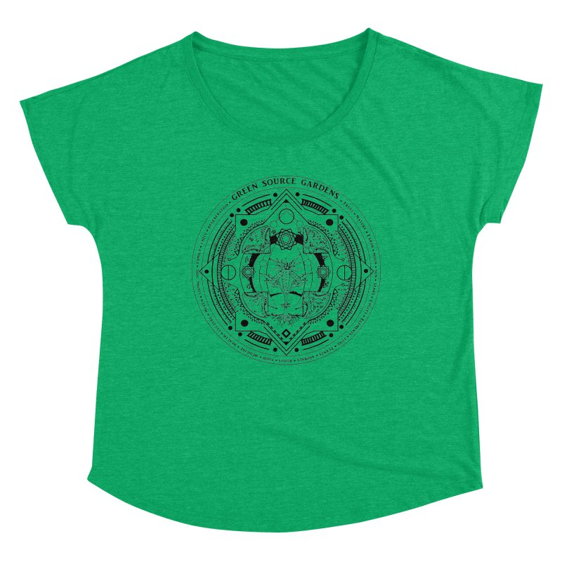 Canna Mandala (black ink) Women's Scoop Neck by Green Source Gardens