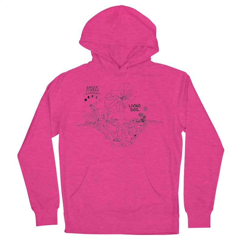 Living Soil (black ink) Women's French Terry Pullover Hoody by Green Source Gardens