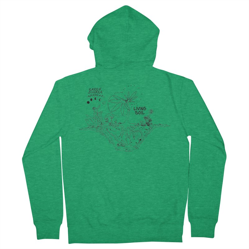 Living Soil (black ink) Women's Zip-Up Hoody by Green Source Gardens