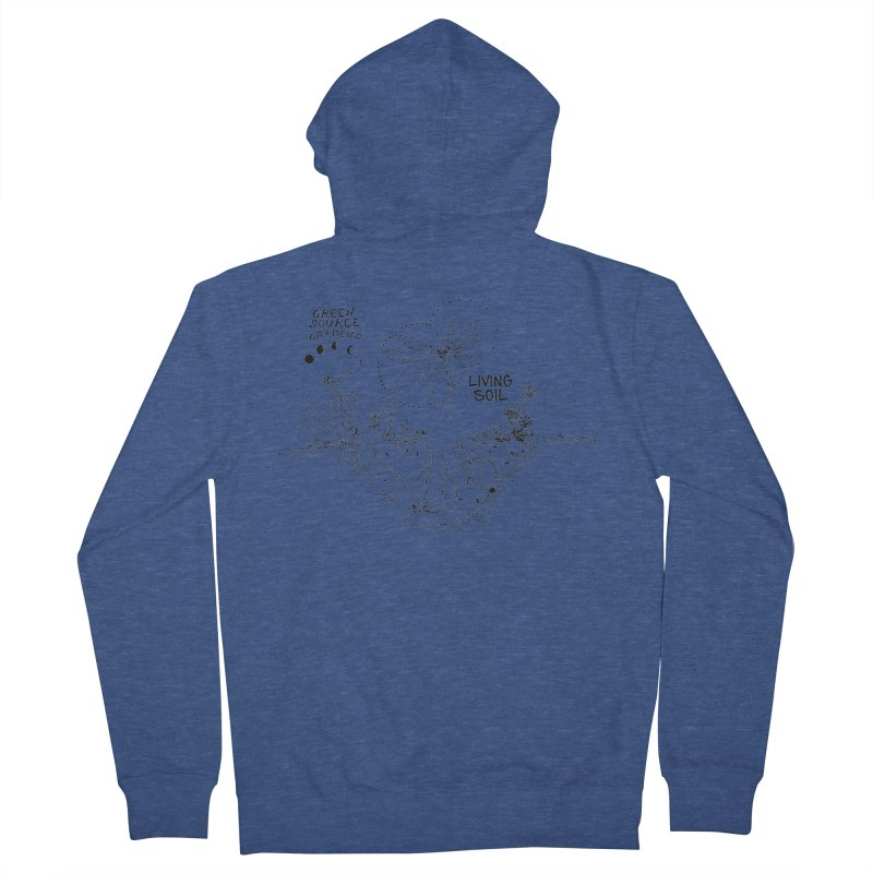 Living Soil (black ink) Men's French Terry Zip-Up Hoody by Green Source Gardens