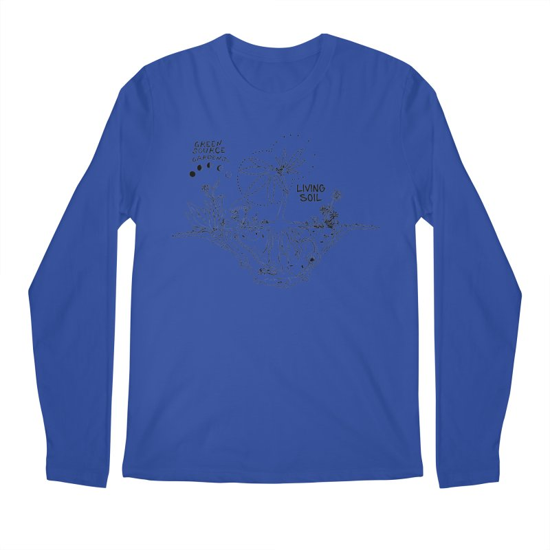 Living Soil (black ink) Men's Longsleeve T-Shirt by Green Source Gardens