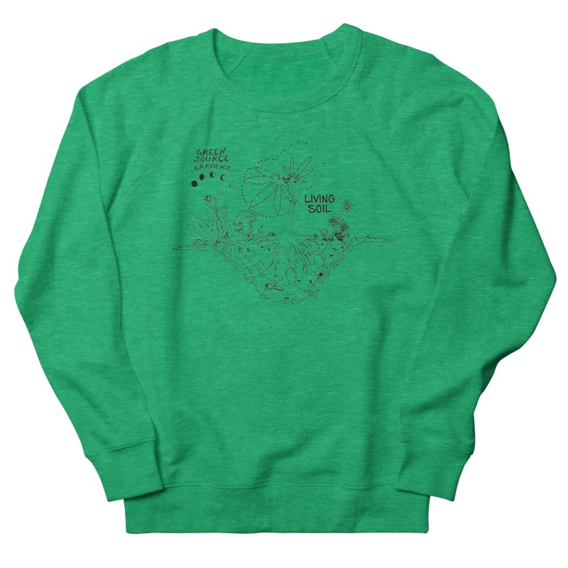 Living Soil (black ink) Men's French Terry Sweatshirt by Green Source Gardens