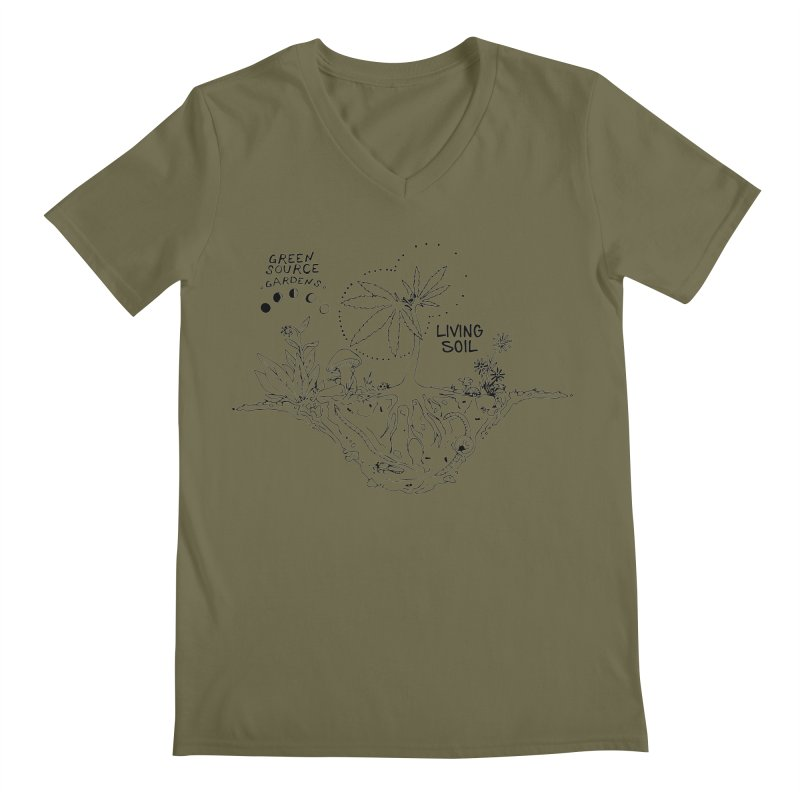 Living Soil (black ink) Men's Regular V-Neck by Green Source Gardens