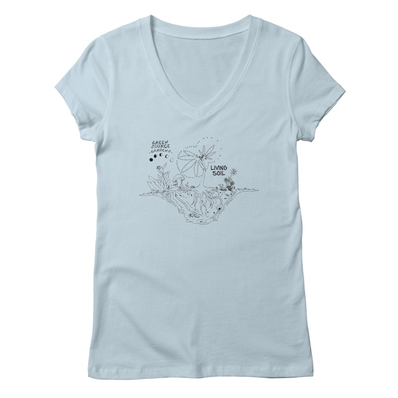 Living Soil (black ink) Women's Regular V-Neck by Green Source Gardens