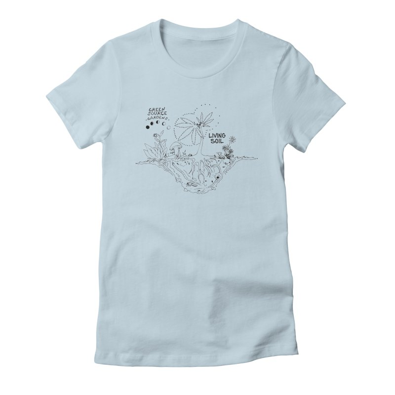 Living Soil (black ink) Women's Fitted T-Shirt by Green Source Gardens