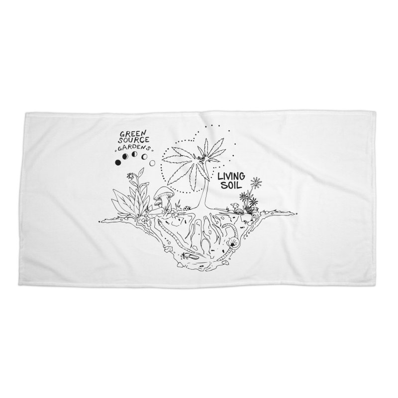 Living Soil (black ink) Accessories Beach Towel by Green Source Gardens