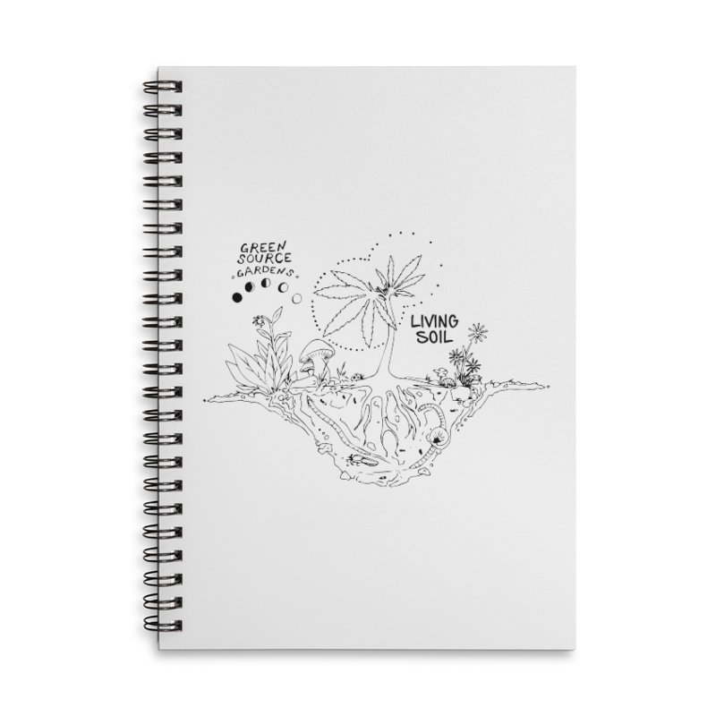 Living Soil (black ink) Accessories Lined Spiral Notebook by Green Source Gardens