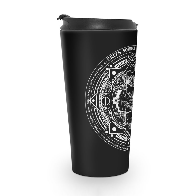 Canna Mandala (white ink) Accessories Travel Mug by Green Source Gardens