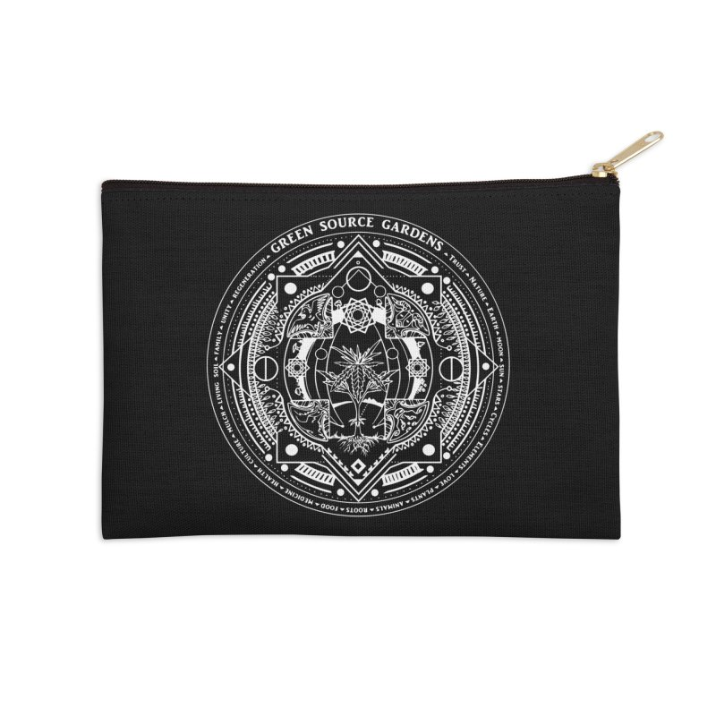 Canna Mandala (white ink) Accessories Zip Pouch by Green Source Gardens