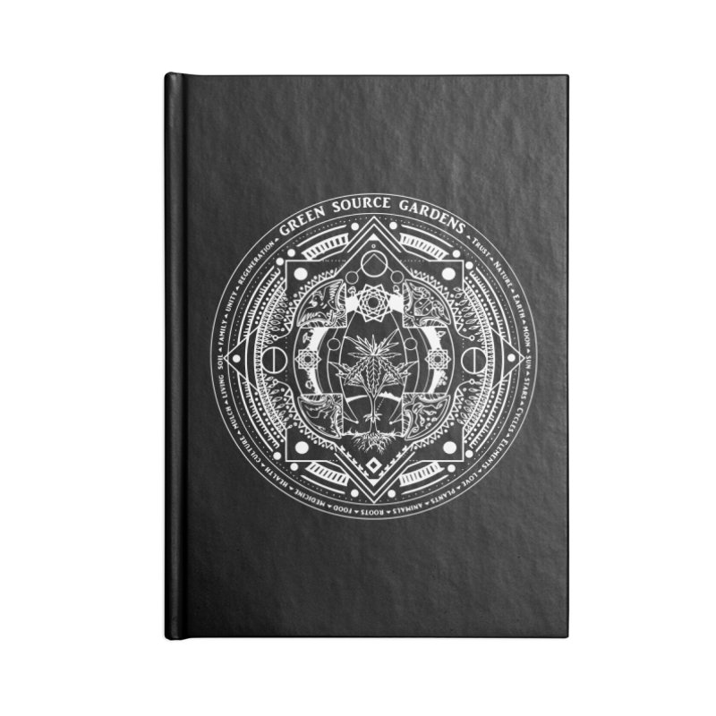 Canna Mandala (white ink) Accessories Notebook by Green Source Gardens