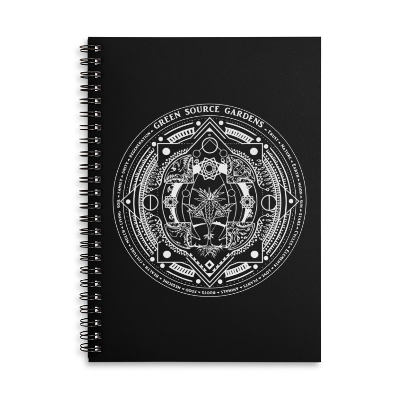 Canna Mandala (white ink) Accessories Lined Spiral Notebook by Green Source Gardens