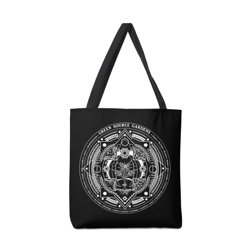 Canna Mandala (white ink) Accessories Bag by Green Source Gardens