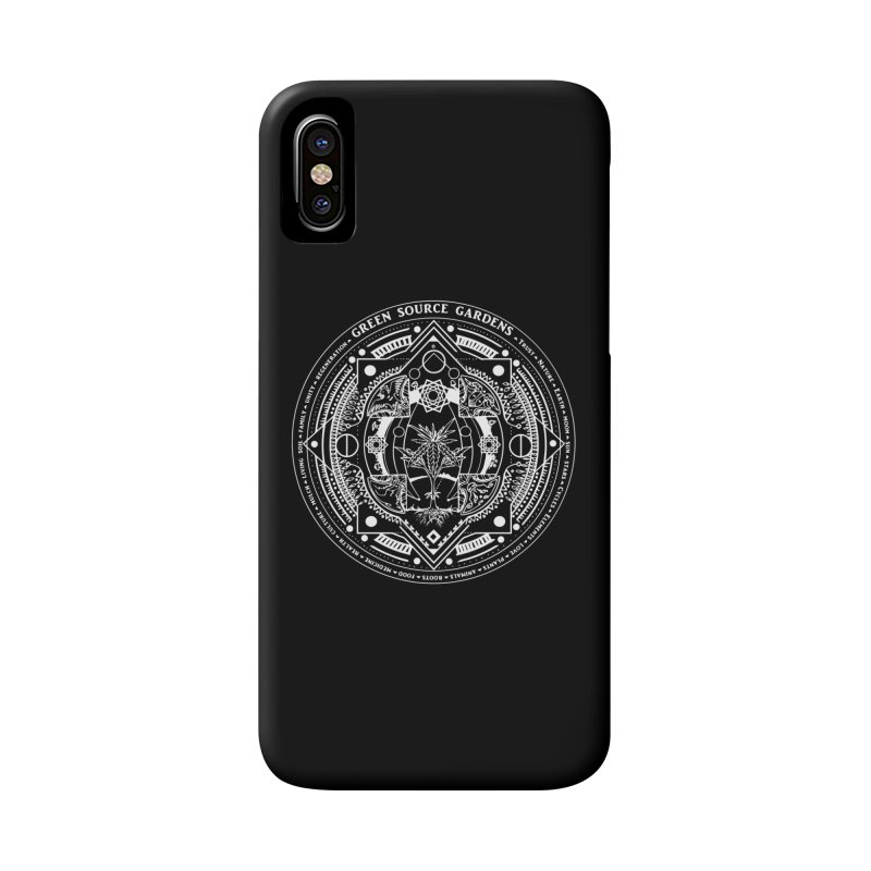 Canna Mandala (white ink) Accessories Phone Case by Green Source Gardens