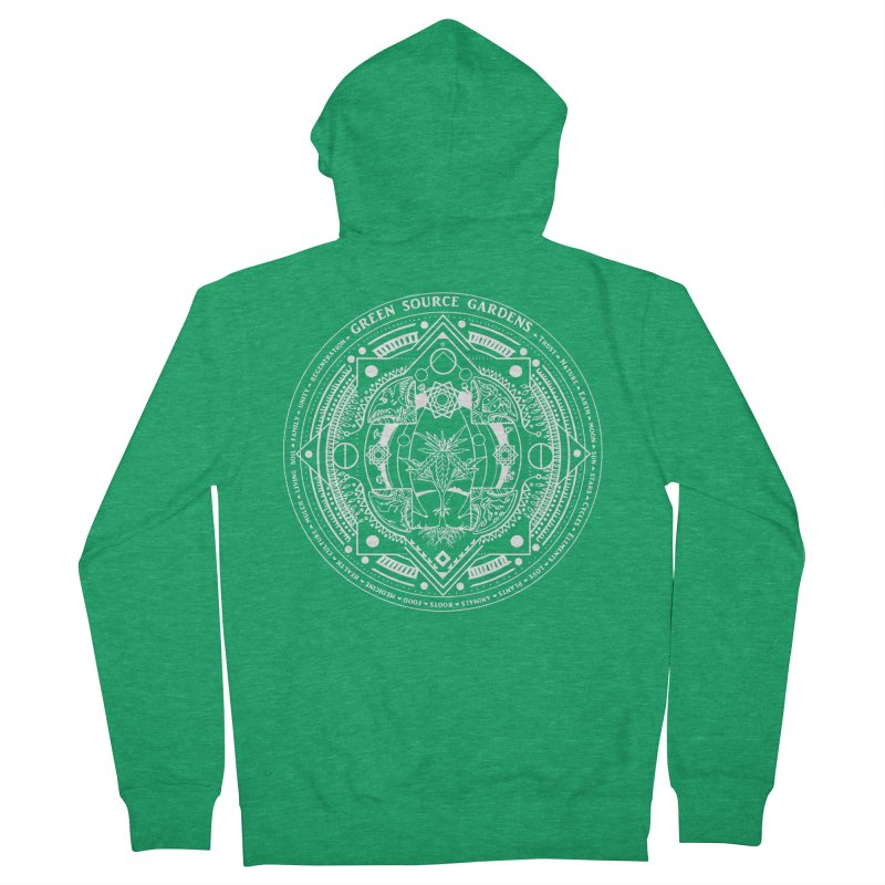 Canna Mandala (white ink) Men's Zip-Up Hoody by Green Source Gardens