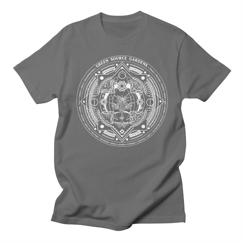 Canna Mandala (white ink) Men's T-Shirt by Green Source Gardens