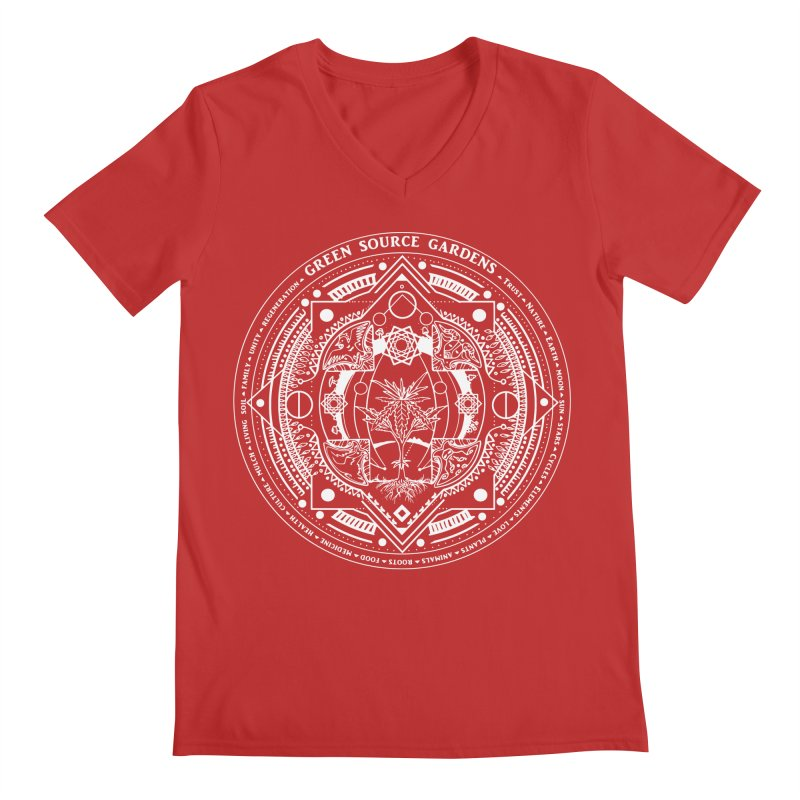 Canna Mandala (white ink) Men's V-Neck by Green Source Gardens