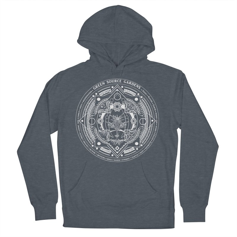 Canna Mandala (white ink) Women's French Terry Pullover Hoody by Green Source Gardens