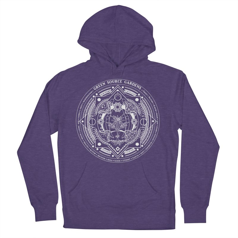 Canna Mandala (white ink) Men's French Terry Pullover Hoody by Green Source Gardens
