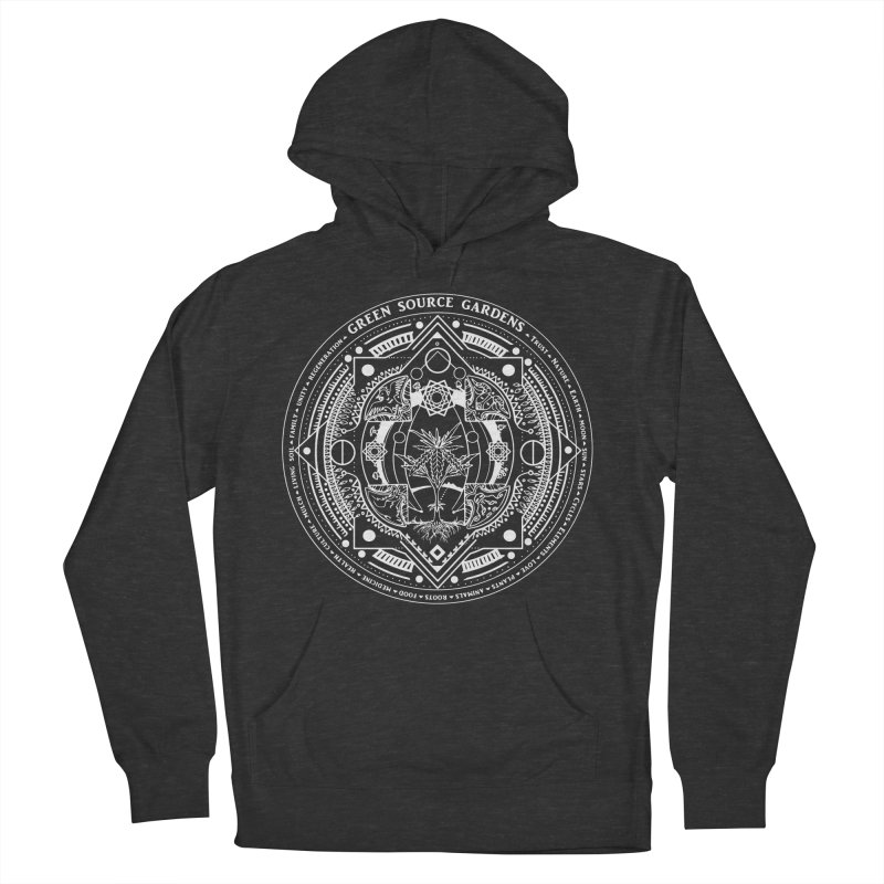 Canna Mandala (white ink) Men's Pullover Hoody by Green Source Gardens