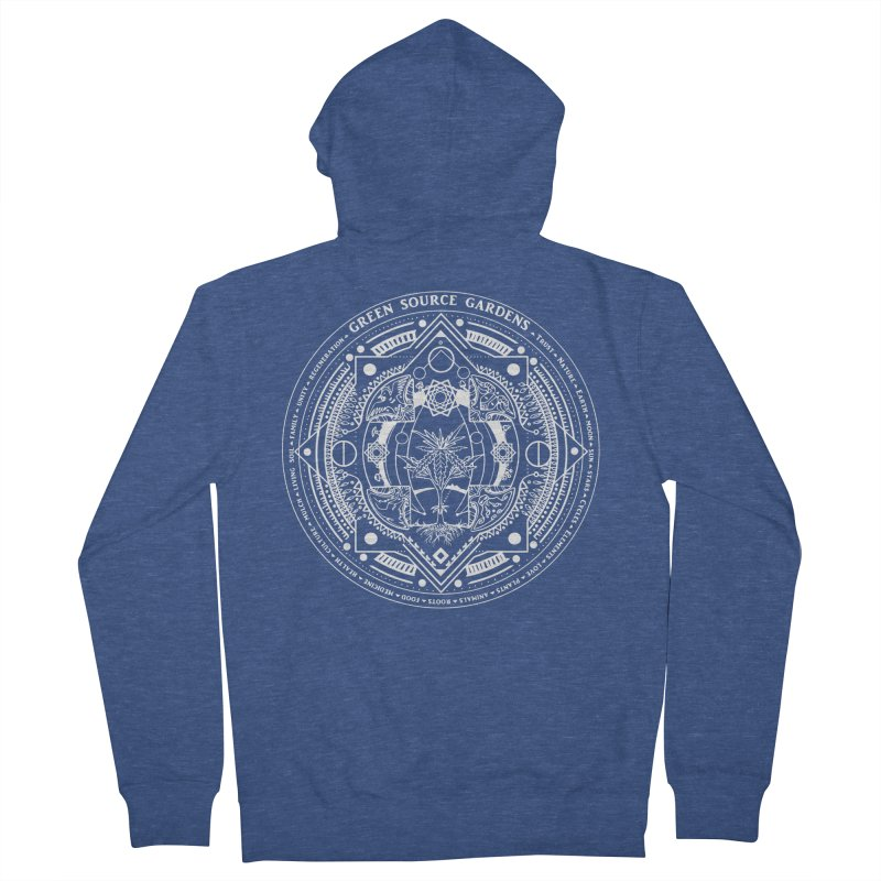Canna Mandala (white ink) Women's French Terry Zip-Up Hoody by Green Source Gardens