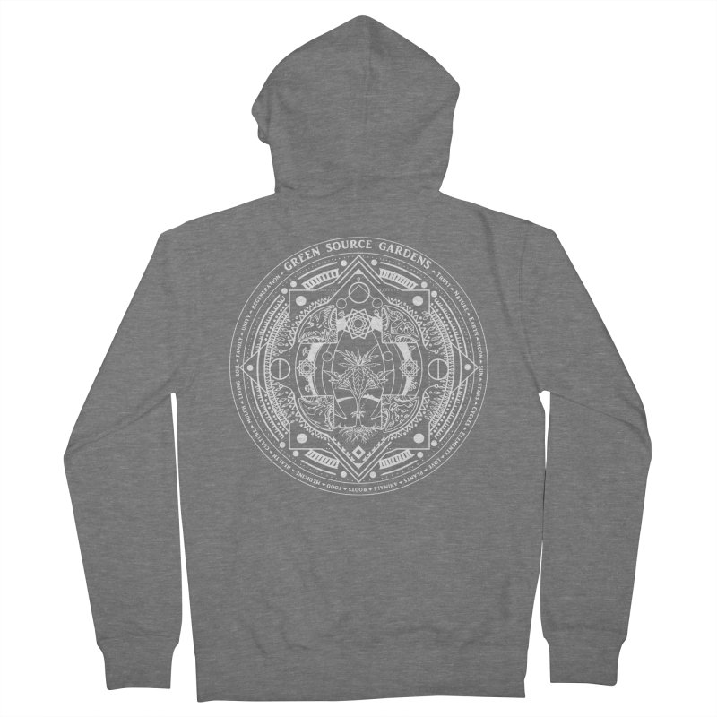 Canna Mandala (white ink) Men's French Terry Zip-Up Hoody by Green Source Gardens