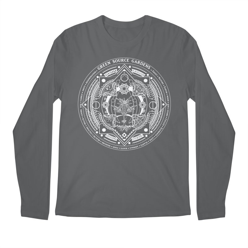 Canna Mandala (white ink) Men's Longsleeve T-Shirt by Green Source Gardens