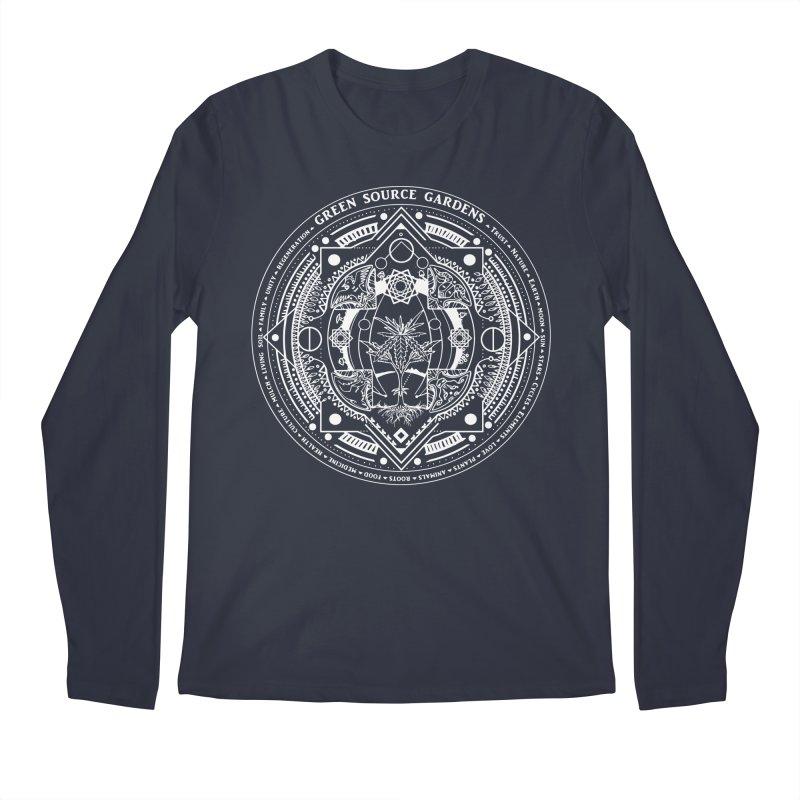 Canna Mandala (white ink) Men's Longsleeve T-Shirt by Green Source Gardens