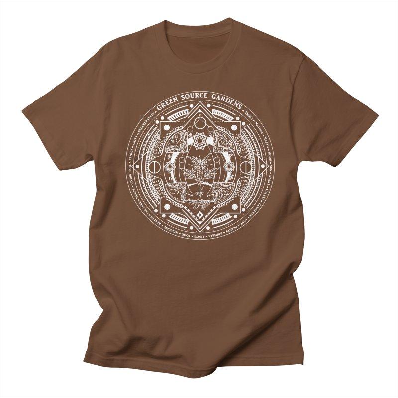 Canna Mandala (white ink) Men's T-Shirt by Green Source Gardens