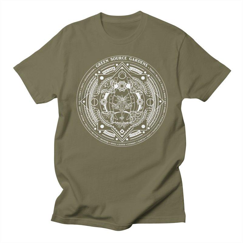 Canna Mandala (white ink) Women's Regular Unisex T-Shirt by Green Source Gardens