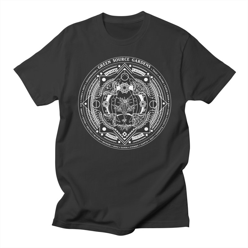 Canna Mandala (white ink) Women's Regular Unisex T-Shirt by Green Source Gardens