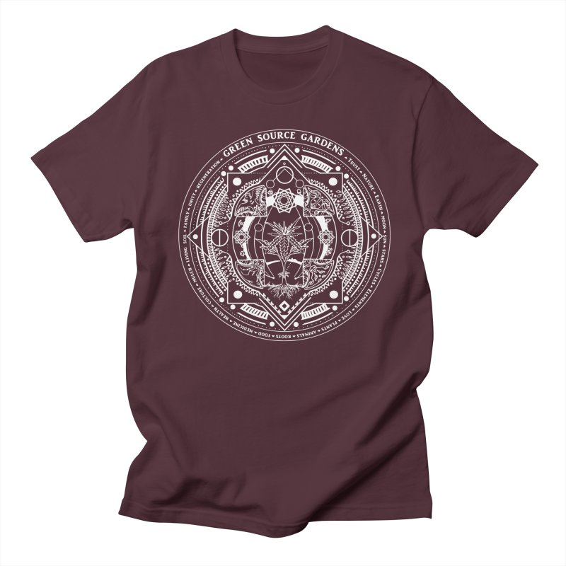 Canna Mandala (white ink) Men's Regular T-Shirt by Green Source Gardens
