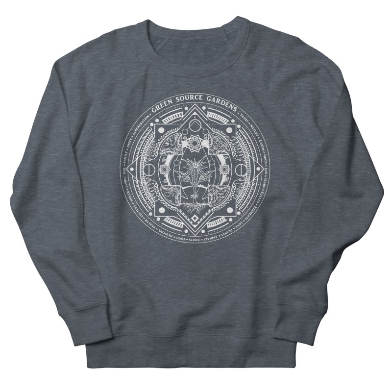 Canna Mandala (white ink) Women's French Terry Sweatshirt by Green Source Gardens