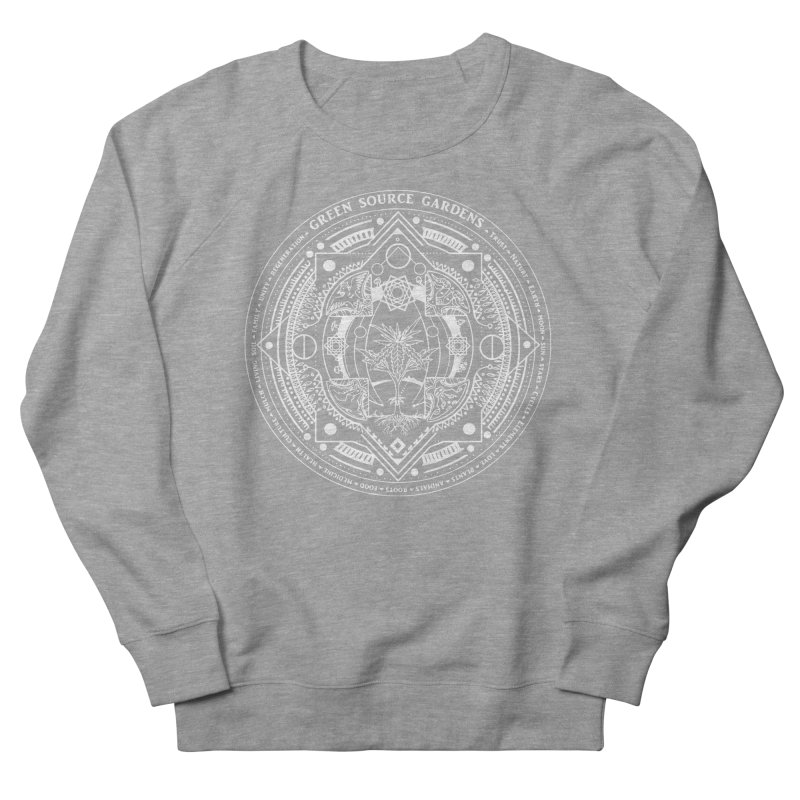 Canna Mandala (white ink) Men's French Terry Sweatshirt by Green Source Gardens