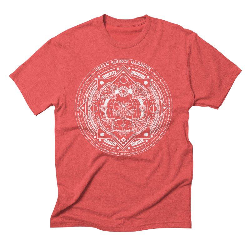 Canna Mandala (white ink) Men's Triblend T-Shirt by Green Source Gardens