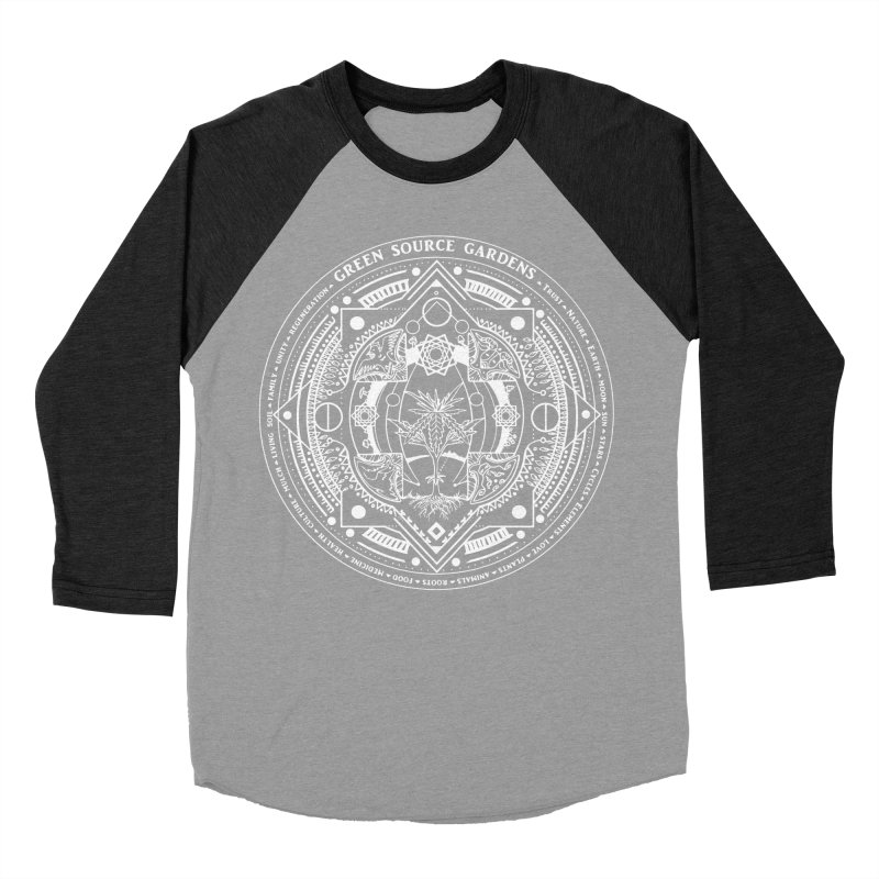 Canna Mandala (white ink) Women's Baseball Triblend Longsleeve T-Shirt by Green Source Gardens