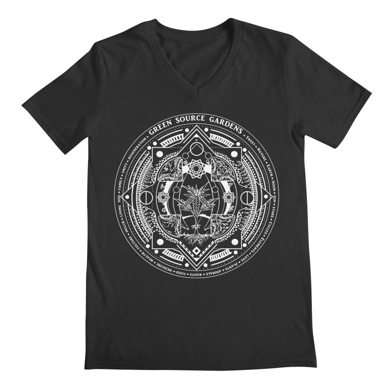 Canna Mandala (white ink) Men's Regular V-Neck by Green Source Gardens