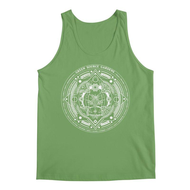 Canna Mandala (white ink) Men's Tank by Green Source Gardens