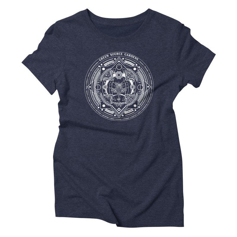 Canna Mandala (white ink) Women's T-Shirt by Green Source Gardens