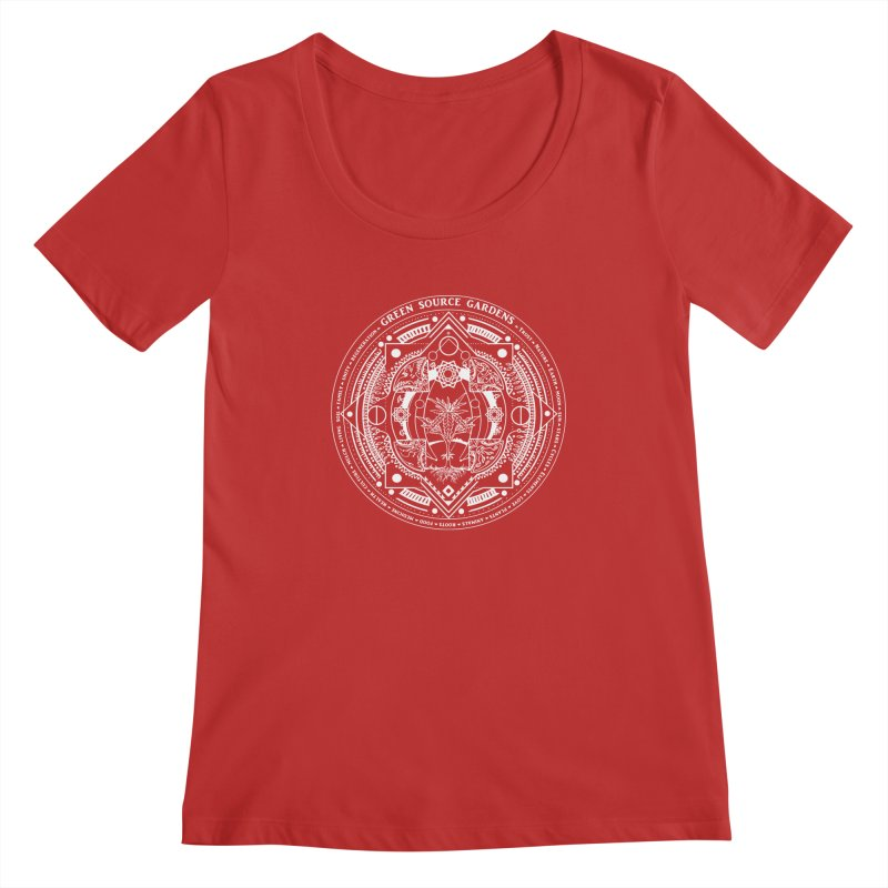 Canna Mandala (white ink) Women's Regular Scoop Neck by Green Source Gardens