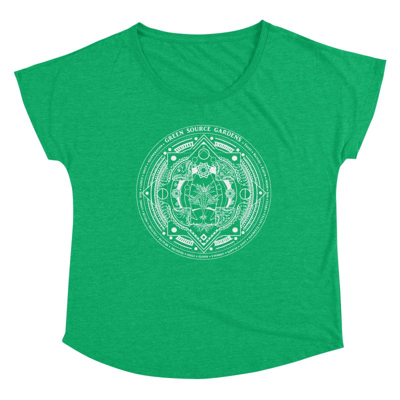 Canna Mandala (white ink) Women's Dolman Scoop Neck by Green Source Gardens