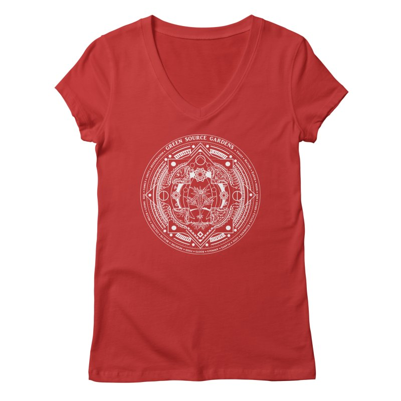 Canna Mandala (white ink) Women's V-Neck by Green Source Gardens