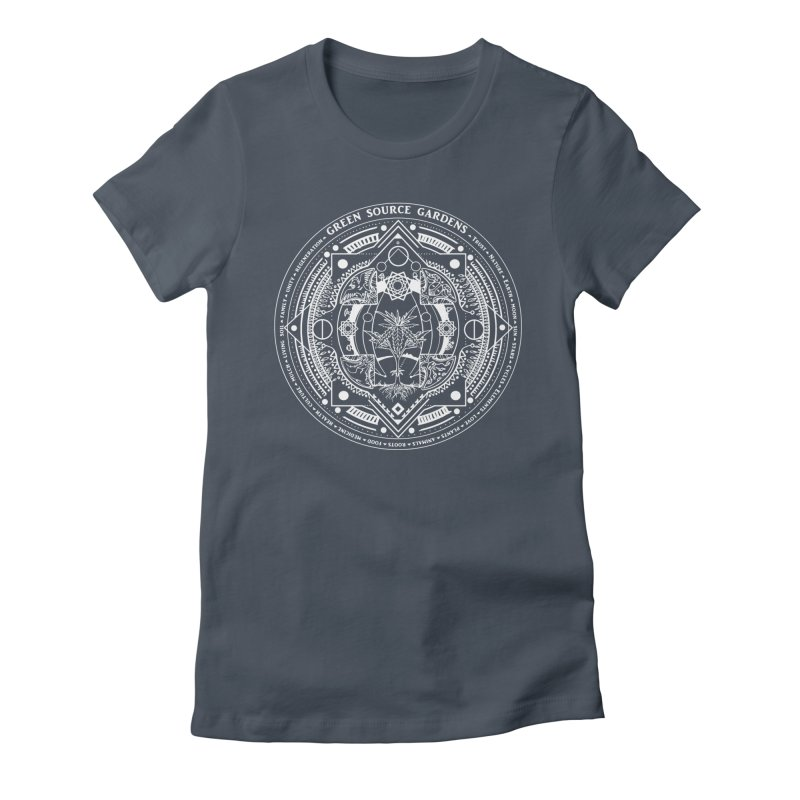 Canna Mandala (white ink) Women's T-Shirt by Green Source Gardens