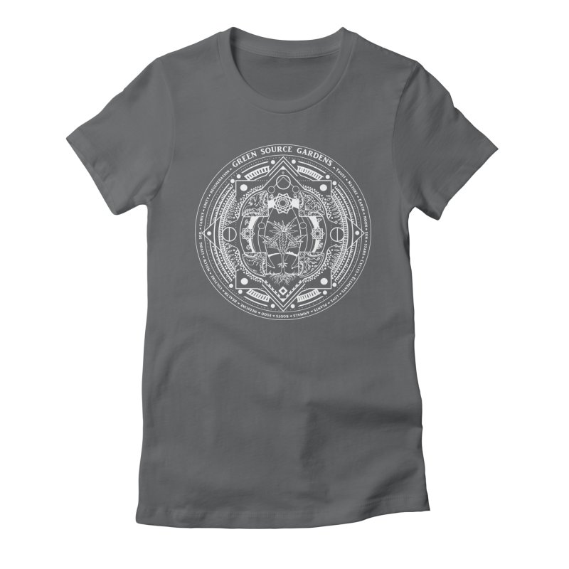 Canna Mandala (white ink) Women's Fitted T-Shirt by Green Source Gardens